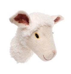 Wall hanging sheep head decoration made from wool
