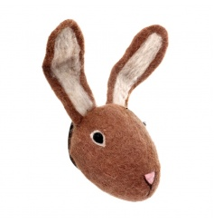 Decorative woollen bunny head with hook for wall hanging