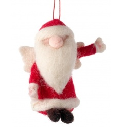 Woollen hanging santa decoration by Heaven Sends