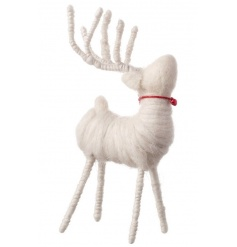 A white standing reindeer decoration made from wool