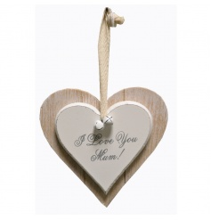 Hanging heart plaque with pretty I Love You Mum text