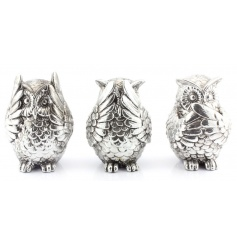 Three wise owl money boxes from the Silver Art range