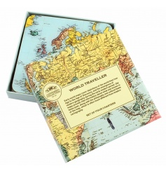 Set of four coasters with World Traveller design