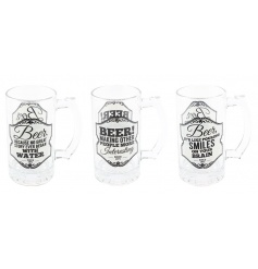 An assortment of three glass tankards each with Gents design