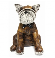Cute dog doorstop made from a faux leather material