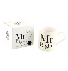 China mug with popular Mr Right text
