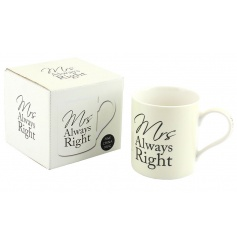 China mug with Mrs Always Right script