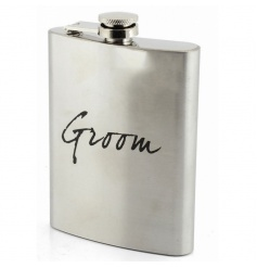 Silver hip flask with Groom text