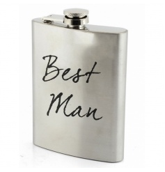 Silver hip flask with Best Man text