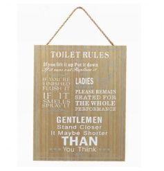 Wooden hanging sign with popular Toilet Rules text