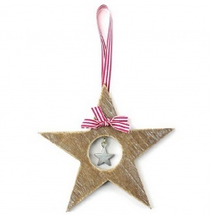 Hanging star decoration with festive striped ribbon
