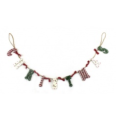 A decorative Christmas garland finished in festive colours