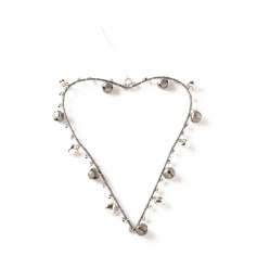 Pretty silver heart with bells to finish
