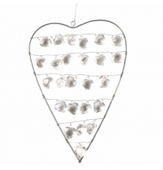 Decorative silver heart with pretty crystals