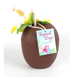 Plastic drinking cup in a tropical coconut design