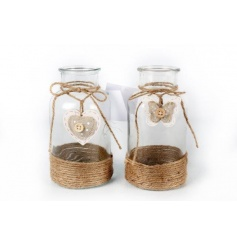 Two assorted glass bottles with rope detail