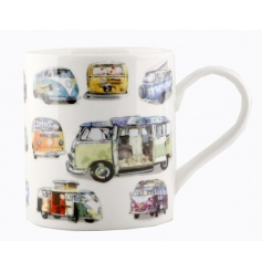 Vintage style camper van print on a china mug