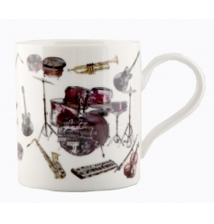 China mug with music instrument print