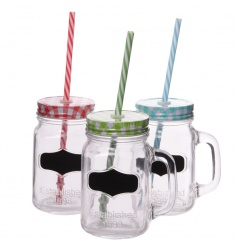 Glass drinking jars with chalkboard label and colourful straws
