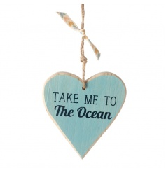 Take me to ocean hanging wooden heart