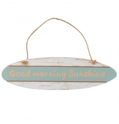 Oval wooden sign with nautical style and sunshine text