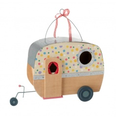 Hanging wooden caravan decoration in with pretty polka dot design