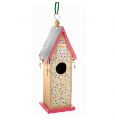 Colourful wooden birdhouse with Home Sweet Home text