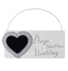 Hanging count down chalkboard with heart