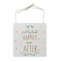 White wooden hanging sign with Happily Ever After print