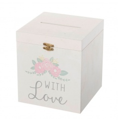 Wooden storage box with floral Love design