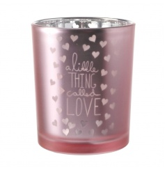 Pretty pink candle holder with faded Love text