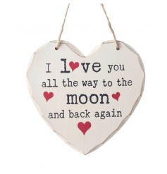 Hanging heart wooden sign with popular Love You quote