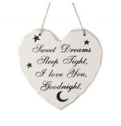 Hanging wooden heart sign with popular Sweet Dreams text