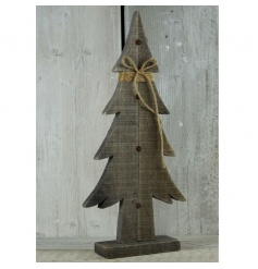 Ornamental driftwood Christmas tree with rustic string bow
