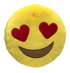 Soft heart eyes cushion from the new Emoji range