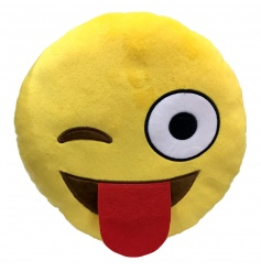 Funny tongue out cushion from the new Emoji range