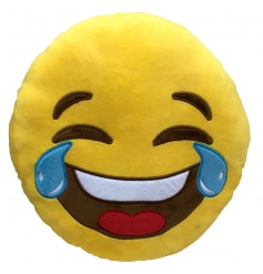 Funny laughing face cushion from the new Emoji range
