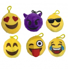 An assortment of 6 emoji keyrings, each with sound
