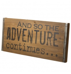 Urban style wooden sign with adventure quote