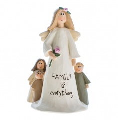 Resin angel decoration with Family text