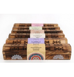 6 assorted karma incense boxes with fragrance incense sticks inside.