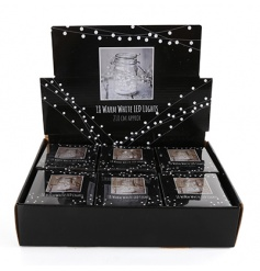 A box of warm white LED lights perfect for displaying in jars and vases.