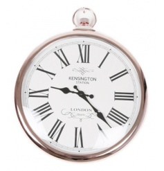 A beautiful rose copper clock in the style of a traditional pocket watch.