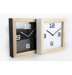 Stylish square wooden clocks in chic black and white colours with blonde wood detailing.