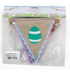 Hessian flag style bunting with pretty easter eggs to finish