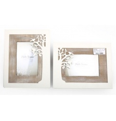 An assortment of two wooden photo frames with tree cutout
