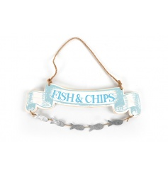 Wooden Fish and Chips sign in nautical colours