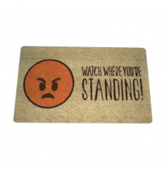An on trend emoji door mat with angry face reading 'Watch Where You're Standing!'
