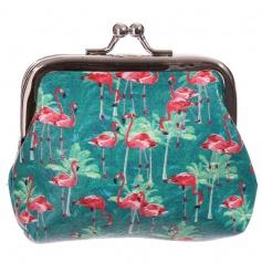 Tropical style coin purse with Lauren Billingham Flamingo design