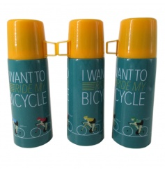 A retro style bicycle design flask with 'I want to ride me bicycle slogan'